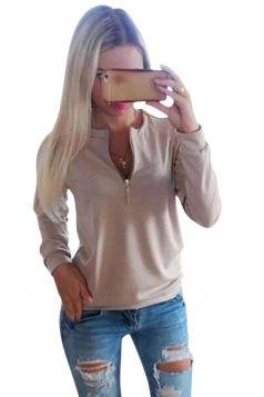 Womens Plain Crewneck Long Sleeve Zipper Pullover Sweatshirt Khaki