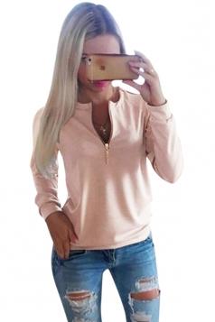 Womens Plain Crewneck Long Sleeve Zipper Pullover Sweatshirt Pink