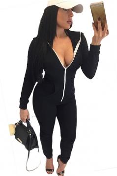 Womens Plain Long Sleeve Hooded Zipper Close-fitting Jumpsuit Black