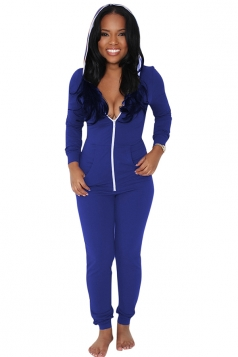 Womens Plain Long Sleeve Zipper Hooded Bodycon Jumpsuit Sapphire Blue