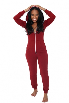 Womens Plain Long Sleeve Hooded Zipper Close-fitting Jumpsuit Ruby