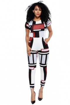 Womens Crewneck Short Sleeve Geometric Print Tight Jumpsuit White
