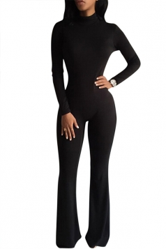Womens Plain Long Sleeve Turtleneck Slimming Jumpsuit Black