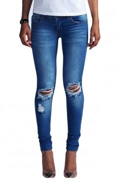 Womens Bleached Ripped Low Waist Elastic Denim Leggings Blue