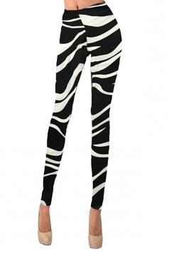 Womens Geometric Printed Washed Skinny Elastic Waist Leggings Black