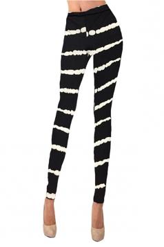Womens Striped Printed Washed Skinny Elastic Waist Leggings Black