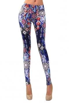 Womens Geometric Printed Washed Skinny Elastic Waist Leggings Blue