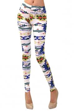 Womens Stylish Tribal Print Washed Skinny Elastic Waist Leggings Blue