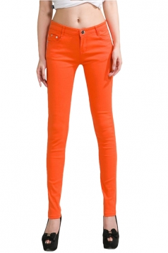Womens Slim Plain High Elastic Pockets Pencil Pants Leggings Orange