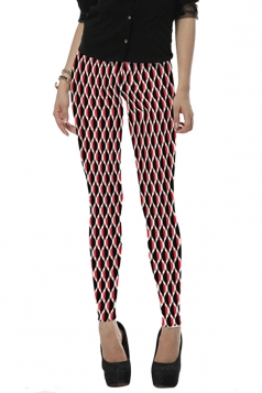 Womens Stylish High Elastic Geometric Digital Print Leggings Rose Red