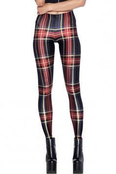 Womens Stylish High Elastic Striped 3D Digital Print Leggings Red
