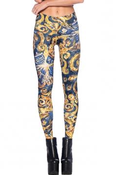 Womens High Elastic Pandorica Opens Digital Print Leggings Yellow