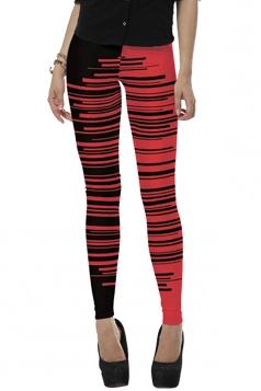 Womens Stylish High Elastic Striped Digital Print Leggings Red