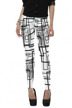 Womens Stylish High Elastic Geometric Digital Print Leggings White