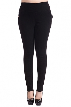 Womens Plain High Elastic Pockets Plus Size Leggings Black