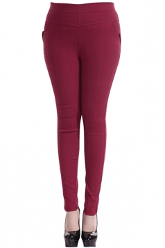 Womens Plain High Elastic Pockets Plus Size Leggings Ruby