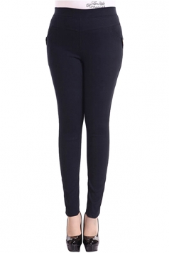 Womens Plain High Elastic Pockets Plus Size Leggings Navy Blue