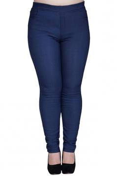 Womens Plain High Elastic Thick Lined Plus Size Leggings Blue