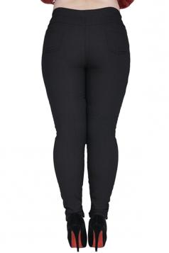 Womens Plain High Elastic Thick Lined Plus Size Leggings Black