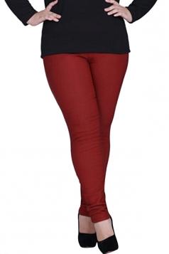 Womens Plain High Elastic Thick Lined Plus Size Leggings Ruby