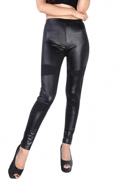 Womens Faux Leather Spliced Diamond Skinny Ankle-length Leggings Black