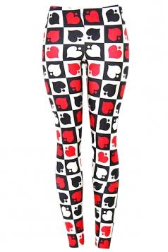 Womens Hearts Spades 3D Digital Print High Elastic Leggings Red
