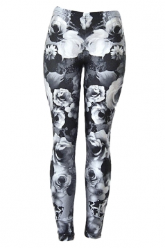 Womens 3D Floral Digital Print High Elastic Leggings Gray