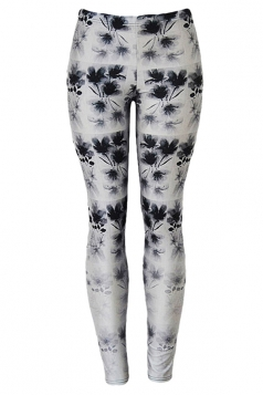 Womens Plum Flowers 3D Digital Print High Elastic Leggings Black