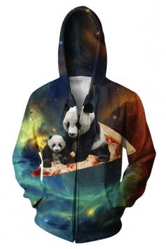 Womens Long Sleeve Zipper Panda Pizza Galaxy 3D Print Hoodie Turquoise