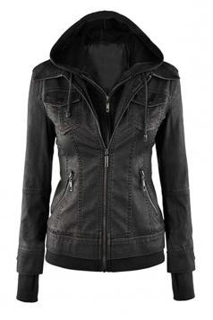 Womens Plain Long Sleeve with Detachable Hooded Zippered Jacket Black