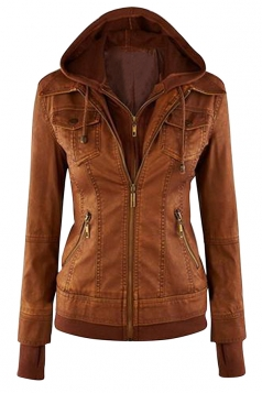 Womens Plain Long Sleeve with Detachable Hooded Zippered Jacket Brown
