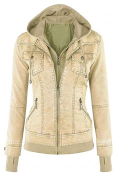 Womens Long Sleeve with Detachable Hooded Zippered Jacket Beige White