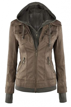 Womens Plain Long Sleeve with Detachable Hooded Zippered Jacket Coffee
