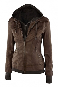 Womens Long Sleeve with Detachable Hooded Zippered Jacket Chestnut