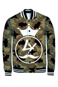 Womens Long Sleeve Single-breasted Camouflage 3D Print Jacket Khaki