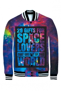 Womens Long Sleeve Single-breasted Space Galaxy Print Jacket Navy Blue