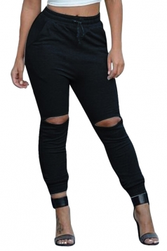 Womens Plain Ripped Elastic Beam Port Joggers Leisure Pants Black