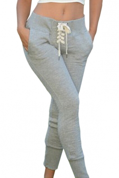 Womens Slim Lace Up Beam Port Leisure Pants Light Gray