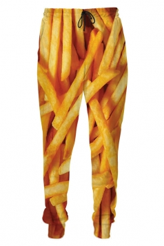 Womens French Fries 3D Digital Print Leisure Harem Sweatpants Yellow