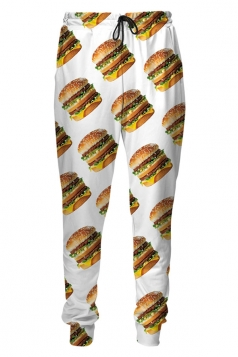 Womens Big Mac Hamburger Digital Print Leisure Harem Sweatpants White