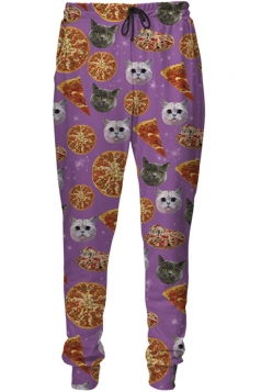 Womens Pizza Cat 3D Digital Print Leisure Harem Sweatpants Purple