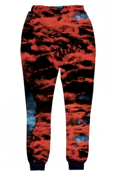 Womens Clouds 3D Digital Print Leisure Harem Sweatpants Red