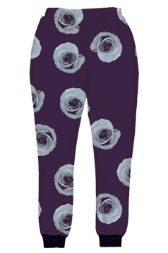 Womens Rose Flower 3D Digital Print Leisure Harem Sweatpants Purple