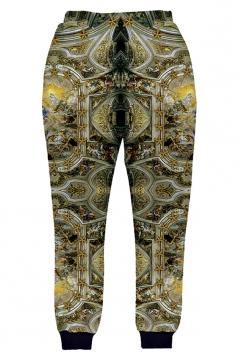 Womens Vintage Pattern 3D Print Leisure Harem Sweatpants Gold