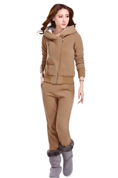 Womens Plain Long Sleeve Lined Hooded Pullover Top & Pants Suit Khaki