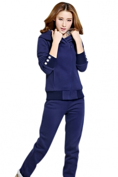 Womens Plain Lined Hooded Pullover Top & Pants Suit Sapphire Blue