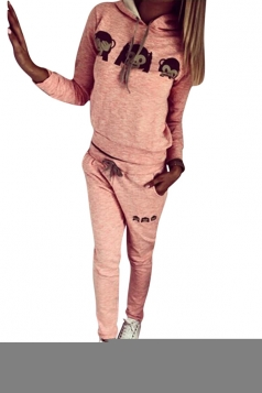 Womens Long Sleeve 3D Emoji Monkey Print Hoodie & Pants Suit Pink