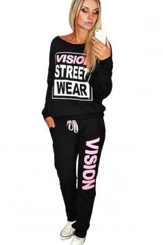 Womens Crewneck Letter Print Pullover Sweatshirt & Pants Suit Black