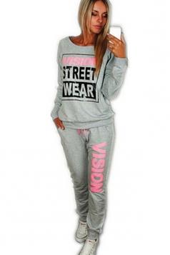 Womens Crewneck Letter Print Pullover Sweatshirt & Pants Suit Gray