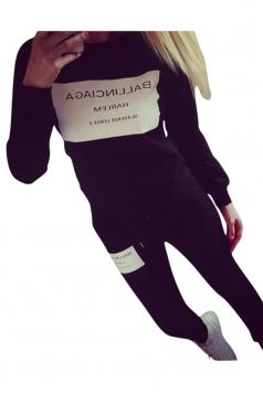 Womens Letter Print Long Sleeve Pullover Sweatshirt & Pants Suit Black